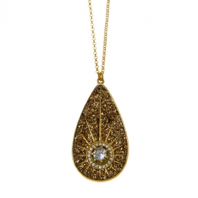Necklace silver 925 yellow gold plated with zirconia and glitter - WANNA GLOW