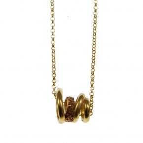 Necklace silver 925 yellow gold plated with glitter - WANNA GLOW