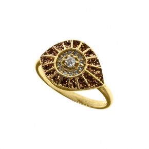 Ring silver 925 ywllow gold plated with glitter - WANNA GLOW