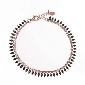 Bracelet in silver 925 rose gold plated with black rhodium plated - Simply Me