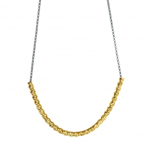 Necklace silver 925 yellow gold plated with black rhodium plated - WANNA GLOW
