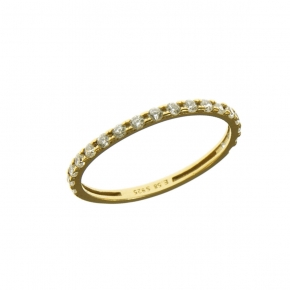 Ring in silver 925 gold plated with white zirconia - Simply Me