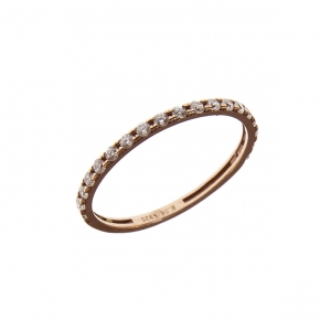 Ring in silver 925 rose gold plated with white zirconia - Simply Me