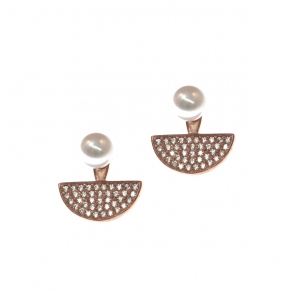 Earrings in silver 925 pink gold plated with zirconia & shell pearls - Simply Me