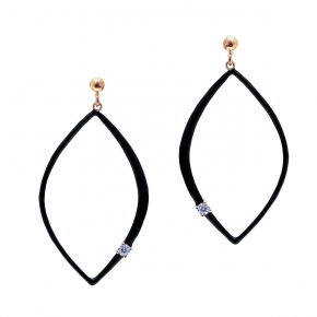 Earrings silver 925 pink gold plated with white zirconia and enamel - WANNA GLOW