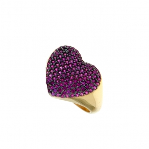 Ring silver 925 yellow gold plated with zirconia - WANNA GLOW