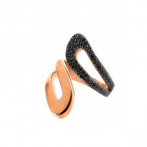 Ring silver 925 rose gold plated with zirconia - WANNA GLOW