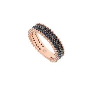 Ring silver 925 rose gold plated with zirconia - Color Me