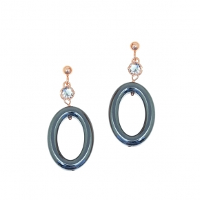 Earings in silver 925 pink gold plated with hematite and white zirconia - Color Me
