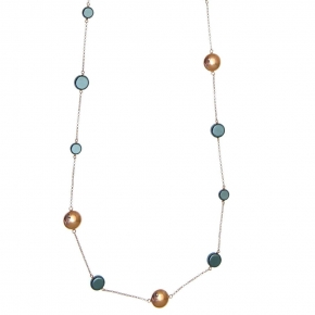 Necklase in silver 925 pink gold plated with hematite - Color Me