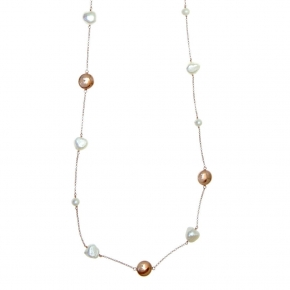 Necklase in silver 925 pink gold plated with pearls - Color Me