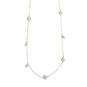 Necklase in silver 925 yellow gold plated with pearls - Color Me