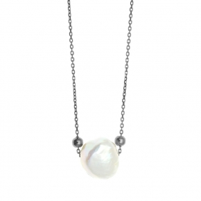 Necklase in silver 925 blasck rhodium plated with pearl - Color Me