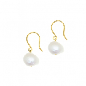 Earings silver 925 yellow gold plated with pearls - Color Me