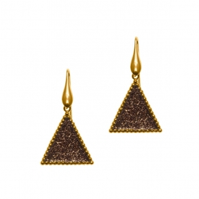 Earings silver 925 yellow gold plated with glitter - WANNA GLOW