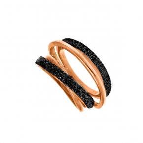 Ring silver 925 rose gold plated with glitter - WANNA GLOW