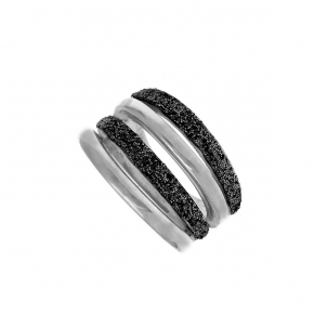 Ring silver 925 rhodium plated with glitter - WANNA GLOW
