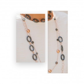 Necklace in silver 925 pink gold plated with hematite and white zirconia - Color Me
