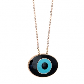 Necklace silver 925 rose gold plated with enamel evil eye - Wish Luck