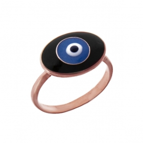 Ring silver 925 rose gold plated with enamel evil eye - Wish Luck