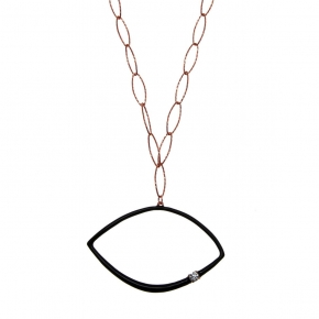 Necklase silver 925 pink gold plated with white zirconia and enamel - WANNA GLOW