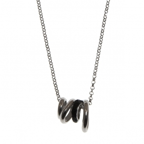 Necklace silver 925 rhodium plated with glitter - WANNA GLOW