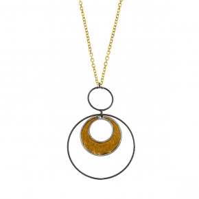 Necklace silver 925 yellow gold plated with black rhodium plated - Funky Metal