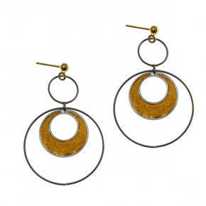 Earings silver 925 yellow gold plated with black rhodium plated - Funky Metal