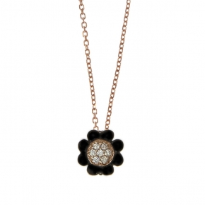 Necklace silver 925 pink gold plated with black rhodium plating and zirconia - Simply Me