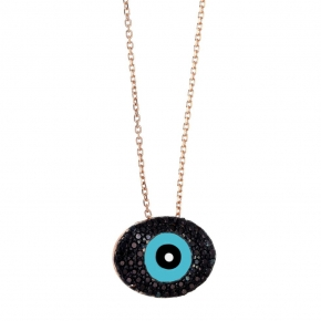 Necklace silver 925 rose gold plated with enamel evil eye and zirconia - Wish Luck