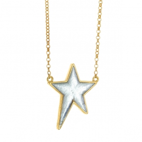 Necklace in silver 925 yellow gold plated with enamel - Funky Metal