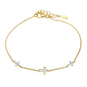 Bracelet in silver 925 yellow gold plated with enamel - Funky Metal