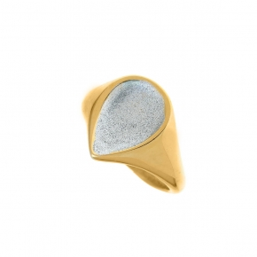 Ring in silver 925 yellow gold plated with enamel - Funky Metal