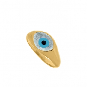 Ring silver 925 yellow gold plated with enamel evil eye - Wish Luck