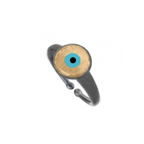 Ring silver 925 black rhodium plated with enamel evil eye - Wish Luck