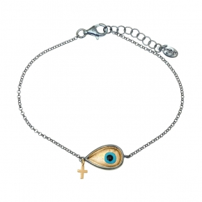 Bracelet silver 925 black rhodium plated with enamel evil eye - Wish Luck