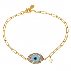Bracelet silver 925 yellow gold plated with enamel evil eye and zirconia - Wish Luck