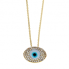 Necklase silver 925 yellow gold plated with enamel evil eye and zirconia - Wish Luck