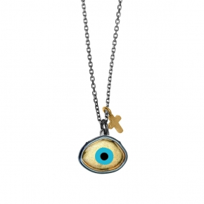 Necklase silver 925 black rhodium plated with enamel evil eye - Wish Luck