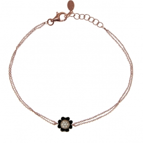 Bracelet silver 925  pink gold plated with black rhodium plating and zirconia - Simply Me