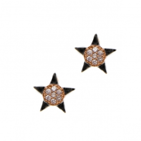 Earings silver 925  pink gold plated with black rhodium plating and zirconia - Simply Me