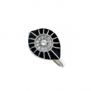Ring silver 925 rhodium plated with glitter and zirconia - WANNA GLOW
