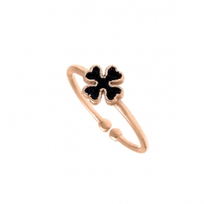 Ring silver 925 pink gold plated with glitter - WANNA GLOW