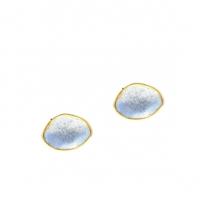 Earing in silver 925 yellow gold plated with enamel - Funky Metal
