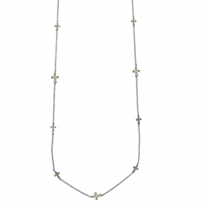 Necklace in silver 925 black rhodium plated with enamel - Funky Metal