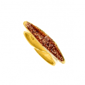 Ring silver 925 yellow gold plated with glitter - WANNA GLOW