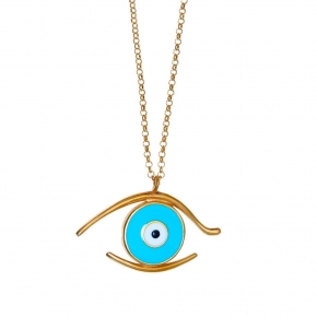 Necklace silver 925 pink plated & with enamel evil eye - Wish Luck