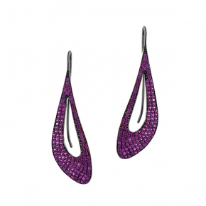Earings silver 925 black rhodium plated with zirconia - Color Me