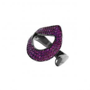 Ring silver 925 black rhodium plated with zirconia - Color Me