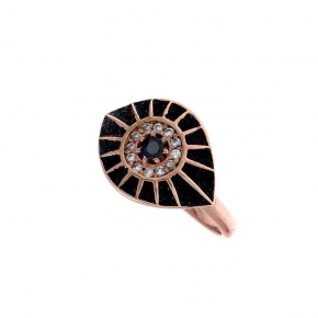 Ring silver 925 pink gold plated with glitter and zirconia - WANNA GLOW